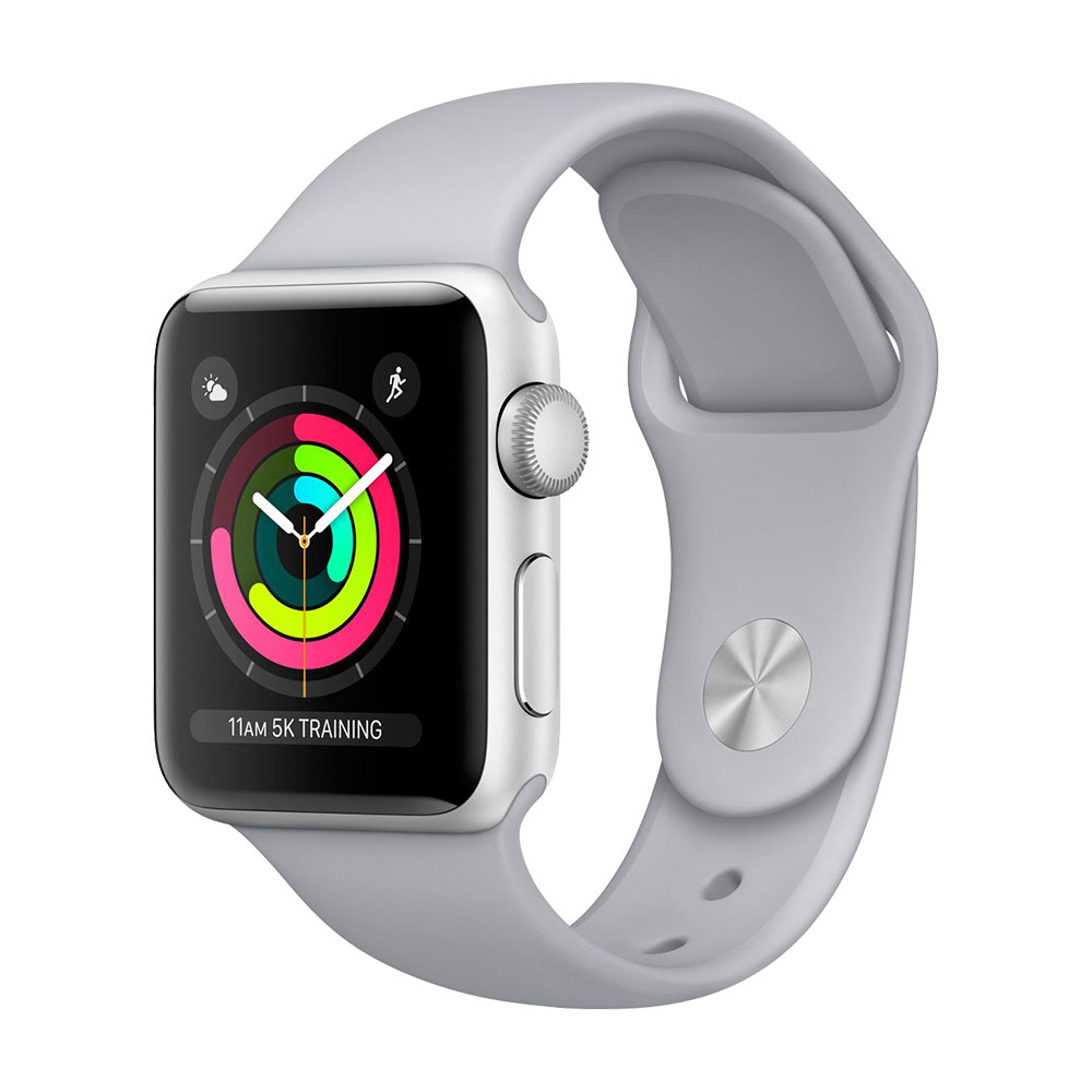 Apple Watch Series 3, 38 мм, корпус серебристого, ремешок дымчатого цвета