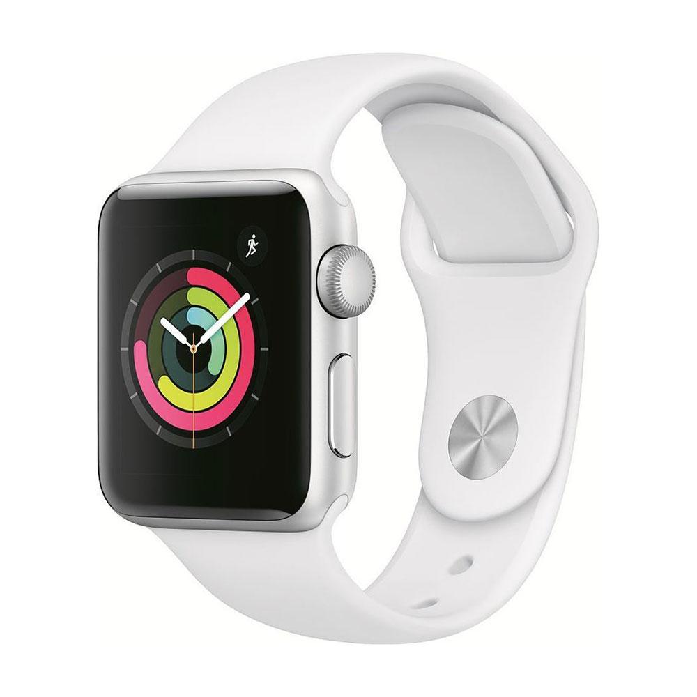 Apple Watch Series 3, 38 мм, корпус серебристого, ремешок белого цвета