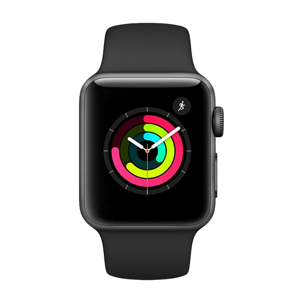 Apple Watch Series 3, 38 мм, корпус цвета «серый космос», ремешок чёрного цвета