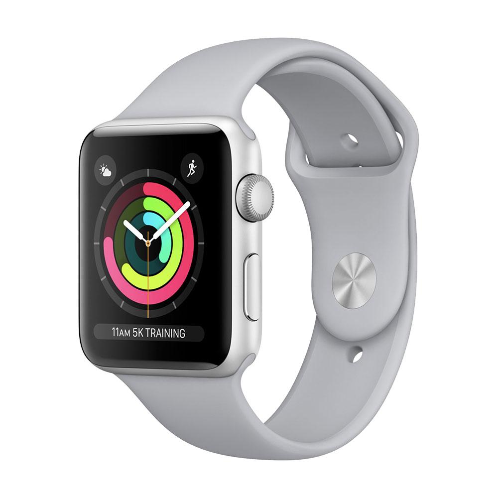 Apple Watch Series 3, 42 мм, корпус серебристого, ремешок дымчатого цвета
