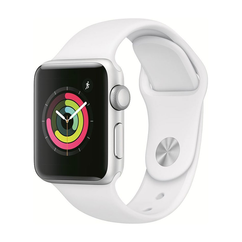 Apple Watch Series 3, 38 мм, корпус серебристого цвета, ремешок белого цвета