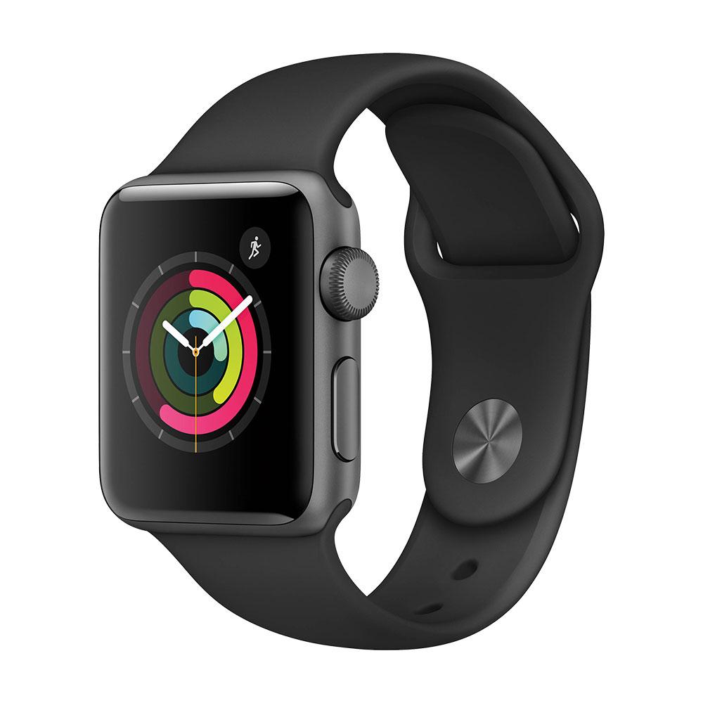 Apple Watch Series 3, 38 мм, корпус цвета серый космос, ремешок чёрного цвета