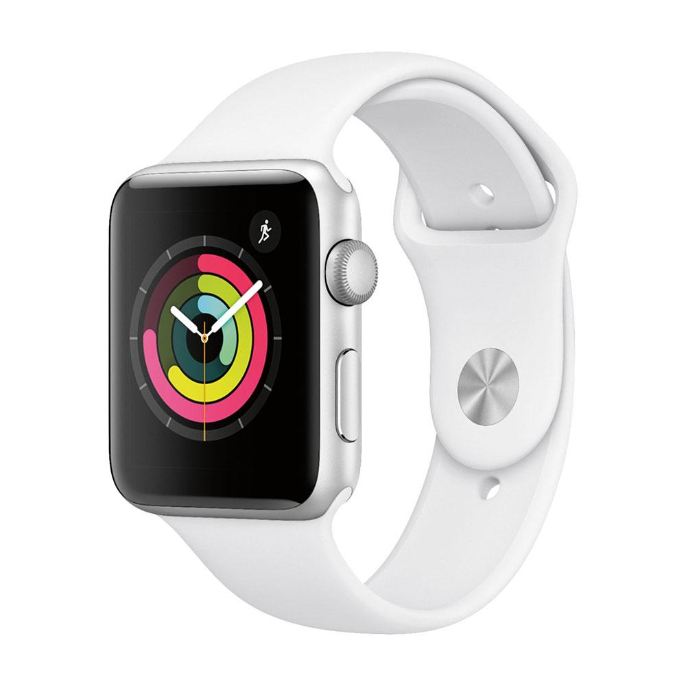 Apple Watch Series 3, 42 мм, корпус серебристого цвета, ремешок белого цвета