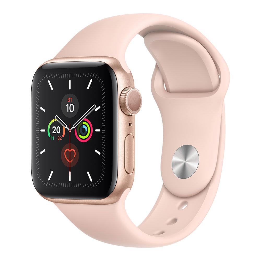 Apple Watch Series 5, 40 мм, корпус золотого цвета, ремешок цвета розовый песок