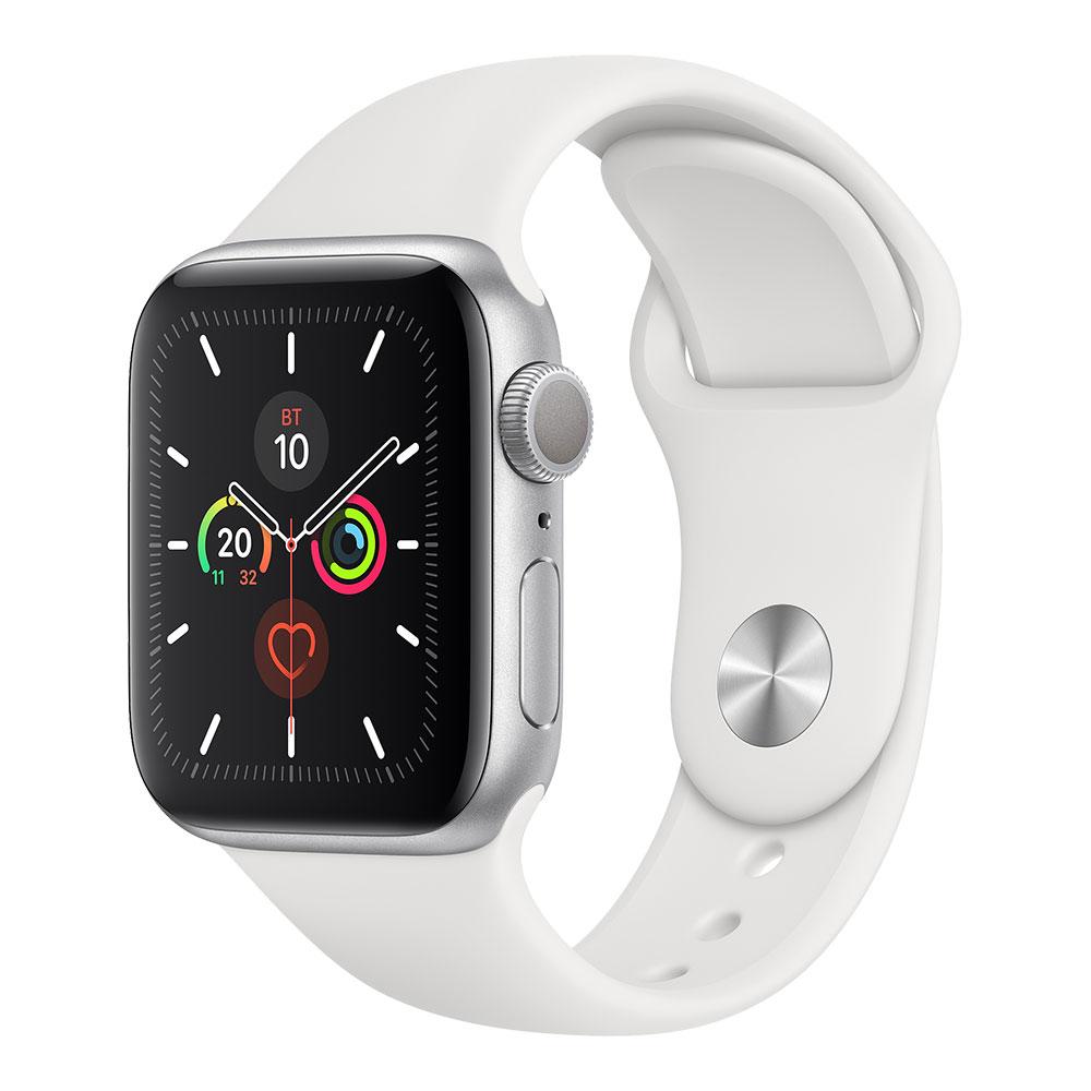 Apple Watch Series 5, 40 мм, корпус серебристого цвета, ремешок белого цвета