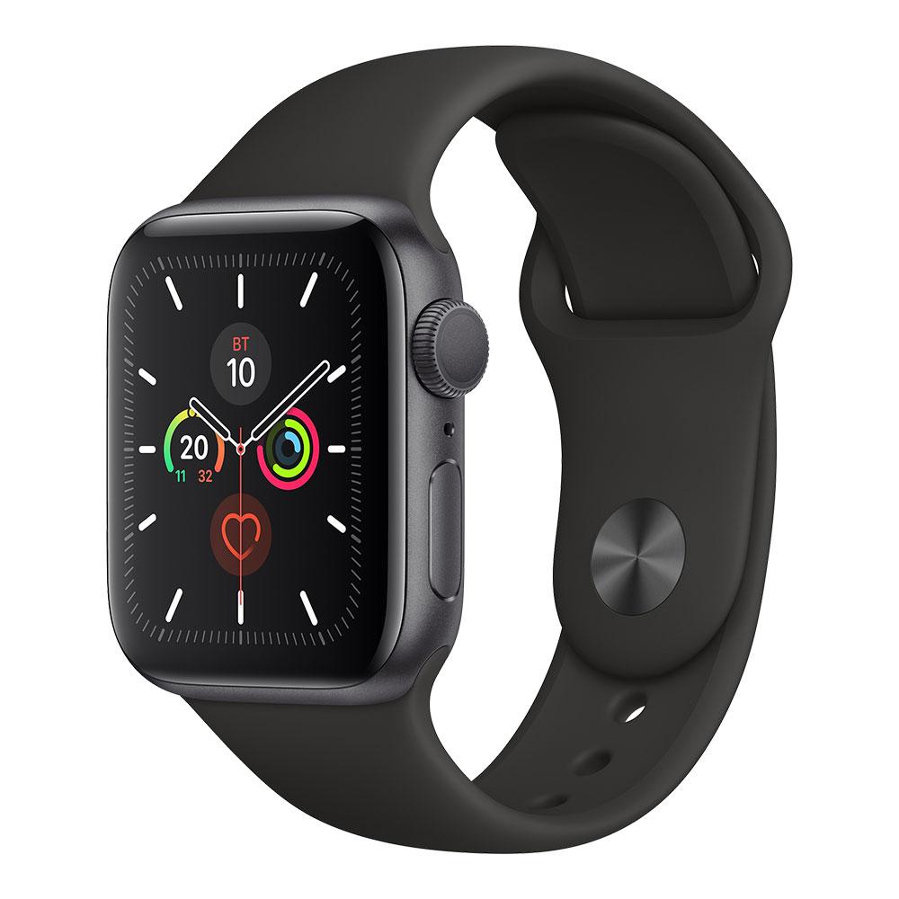 Apple Watch Series 5, 40 мм, корпус цвета серый космос, ремешок чёрного цвета