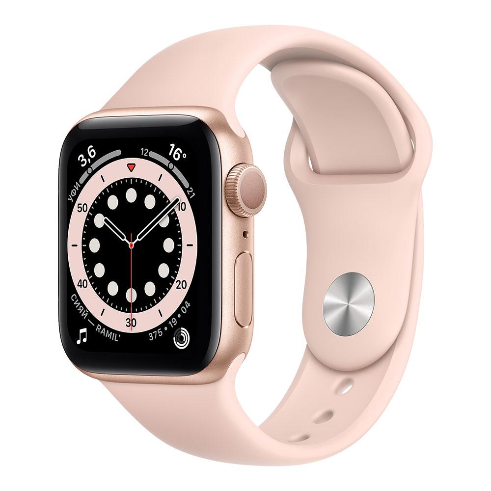 Apple Watch Series 6, 40 мм, корпус золотого цвета, ремешок цвета розовый песок