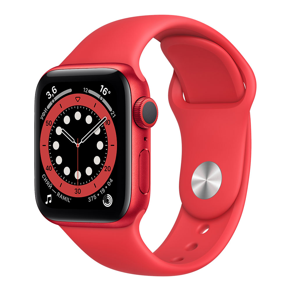 Apple Watch Series 6, 40 мм, корпус цвета Product Red, ремешок красного цвета