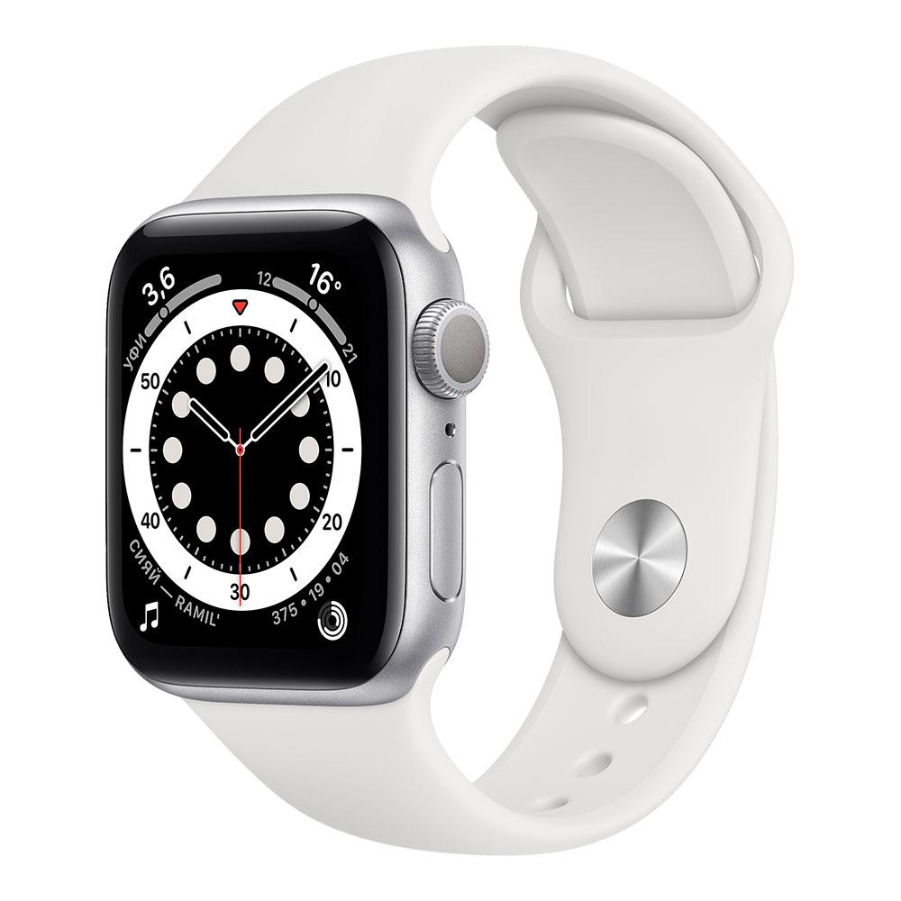 Apple Watch Series 6, 40 мм, корпус серебристого цвета, ремешок белого цвета