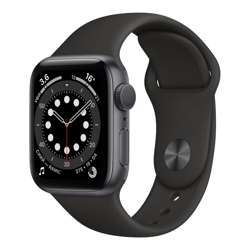 Apple Watch Series 6, 40 мм, корпус цвета серый космос, ремешок чёрного цвета