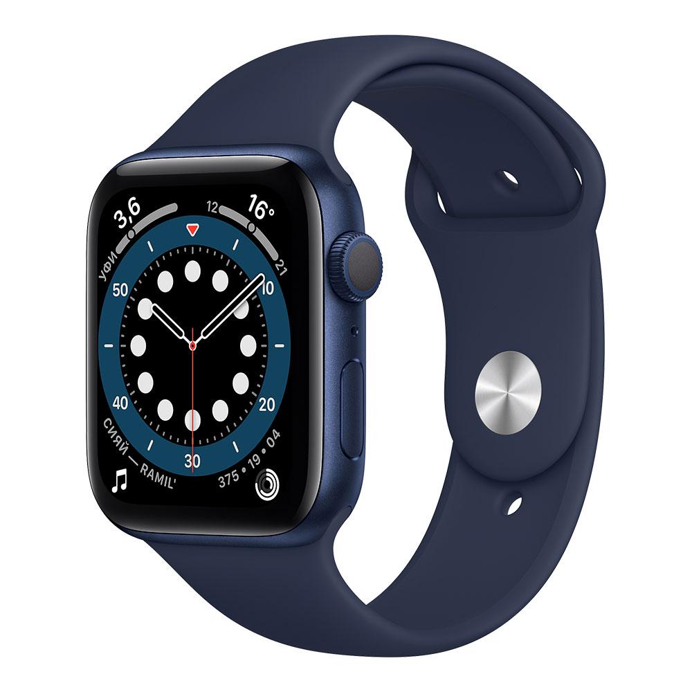 Apple Watch Series 6, 44 мм, корпус синего цвета, ремешок цвета тёмный ультрамарин