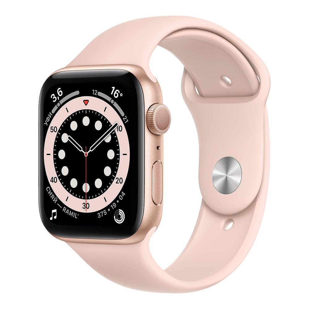 Apple Watch Series 6, 44 мм, корпус золотого цвета, ремешок цвета розовый песок