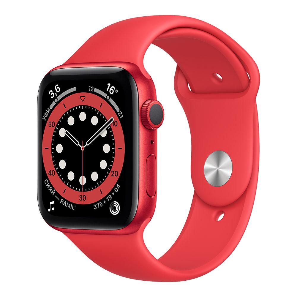 Apple Watch Series 6, 44 мм, корпус цвета Product Red, ремешок красного цвета