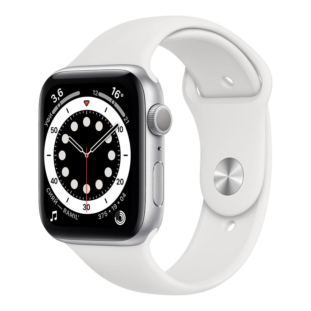 Apple Watch Series 6, 44 мм, корпус серебристого цвета, ремешок белого цвета