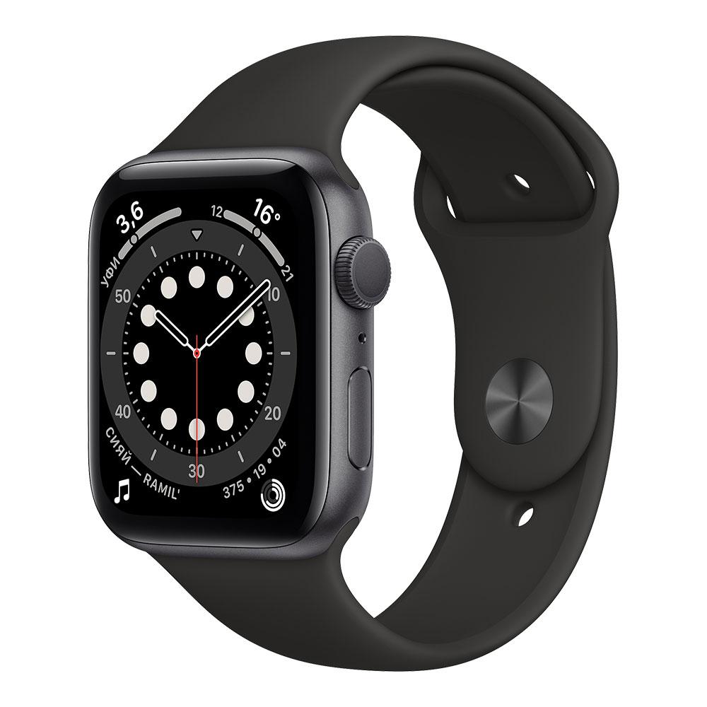 Apple Watch Series 6, 44 мм, корпус цвета серый космос, ремешок чёрного цвета