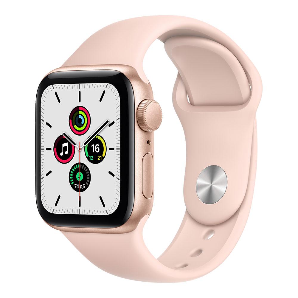 Apple Watch SE, 40 мм, корпус золотого цвета, ремешок цвета розовый песок