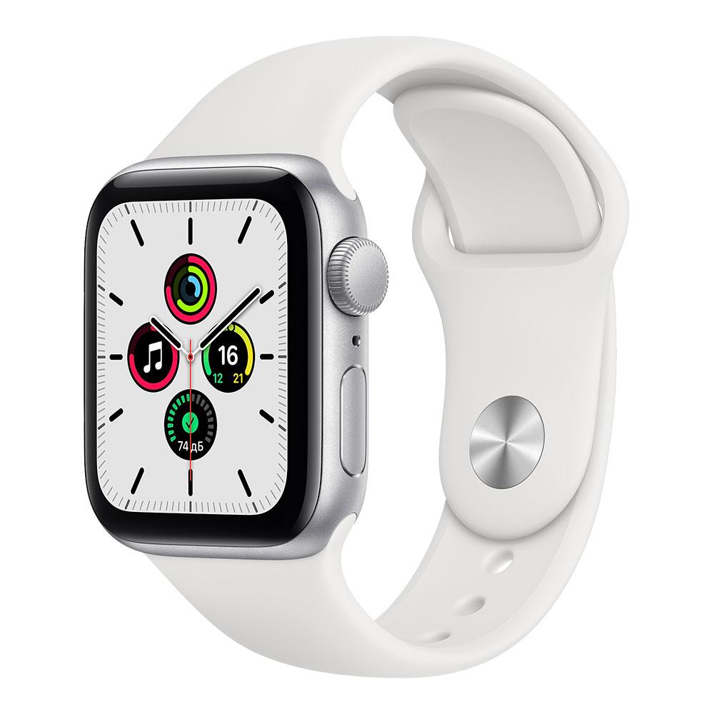 Apple Watch SE, 40 мм, корпус серебристого цвета, ремешок белого цвета