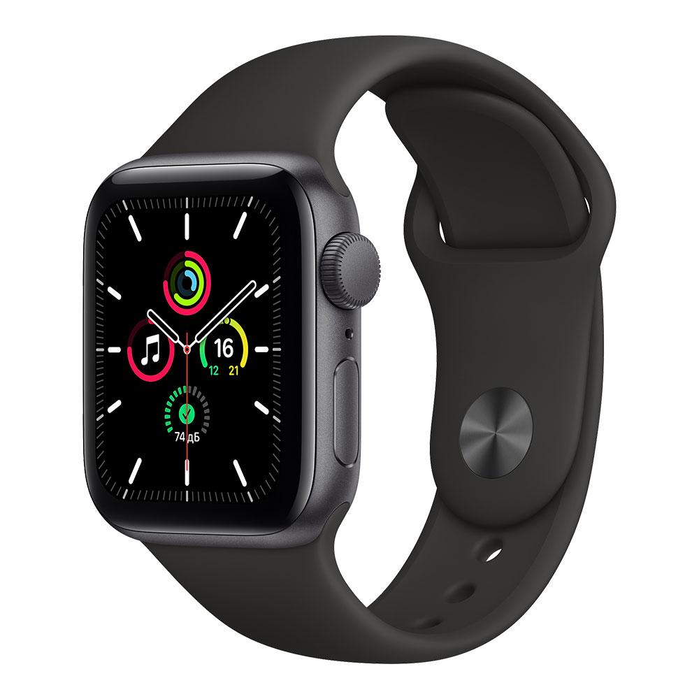 Apple Watch SE, 40 мм, корпус цвета серый космос, ремешок чёрного цвета
