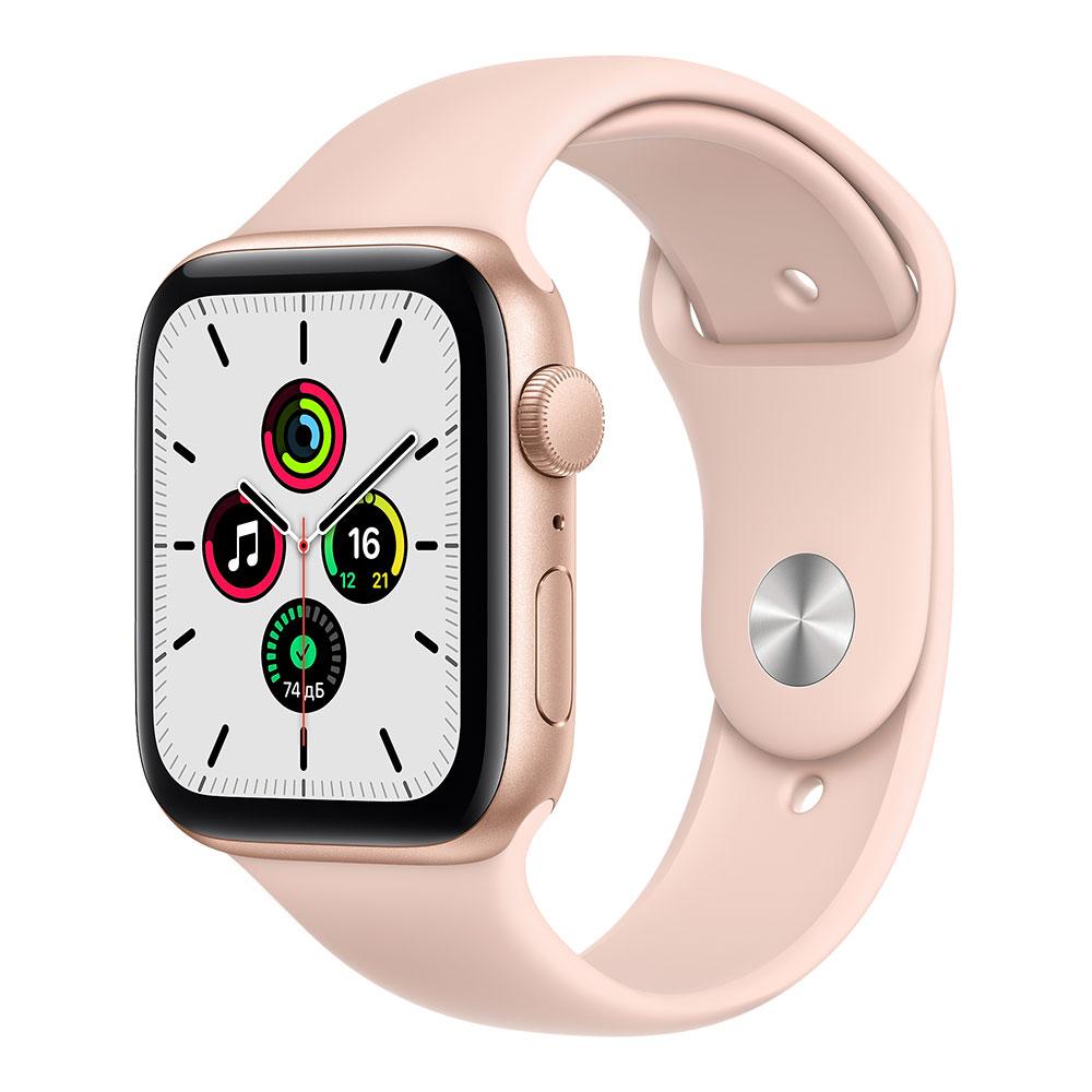 Apple Watch SE, 44 мм, корпус золотого цвета, ремешок цвета розовый песок