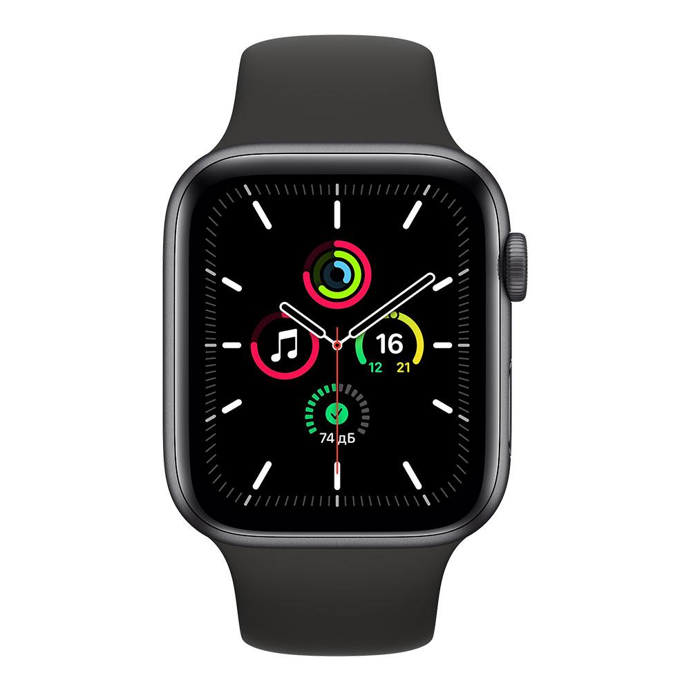 Apple Watch SE, 44 мм, корпус цвета серый космос, ремешок чёрного цвета